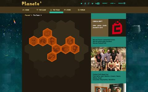 Screenshot of Team Page planets-cube.com - Planets³ Team : discover the dev and artists behind this video game project. - captured Sept. 25, 2014