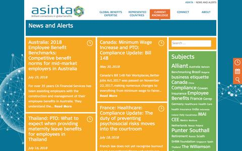 Screenshot of Press Page asinta.com - News and Alerts Archive - Asinta - captured July 30, 2018