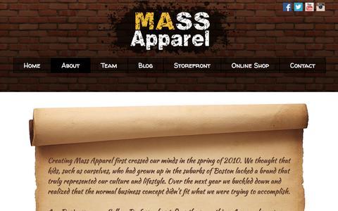 Screenshot of About Page mass-apparel.com - About � Mass Apparel - captured Jan. 9, 2016