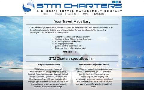 Screenshot of Home Page stmcharters.com - STM Charters, Inc - Private Aircraft Consultants - captured Oct. 3, 2014