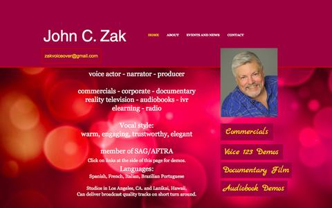 Screenshot of Home Page johnzakvoiceover.com - John C. Zak Voiceover - captured Sept. 5, 2015