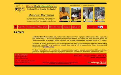 Screenshot of Jobs Page hbc-inc.org - Healthy Black Communities, Inc. (USA, Haiti & West Africa)   Careers - captured Sept. 25, 2018