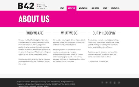 Screenshot of About Page b42digital.com - B42 Digital   –  About Us - captured Oct. 3, 2014