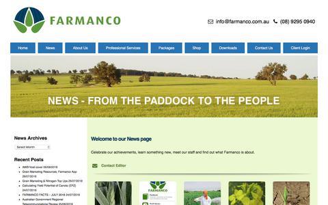 Screenshot of Press Page farmanco.com.au - NEWS - from the paddock to the people - Farmanco - captured Aug. 9, 2018
