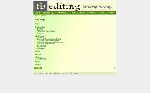 Screenshot of Site Map Page tbediting.com - Technical & Business Editing Limited - how to contact us - captured Oct. 7, 2014