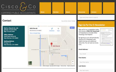 Screenshot of Contact Page ciscocpa.com - Contact New Bremen Accountant Mark J. Cisco & Co - captured Oct. 27, 2014