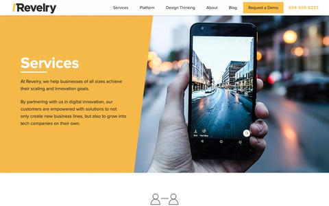 Screenshot of Services Page revelry.co - Revelry's Suite of Innovation Services - captured Oct. 20, 2018