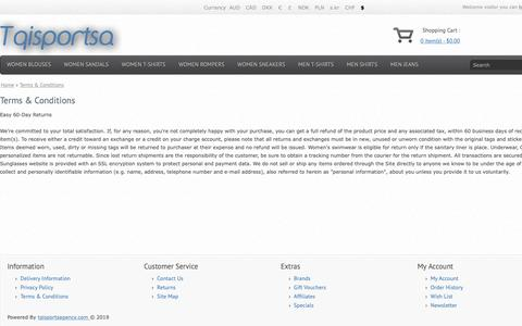 Screenshot of Terms Page tqisportsagency.com - Terms & Conditions - captured May 29, 2019