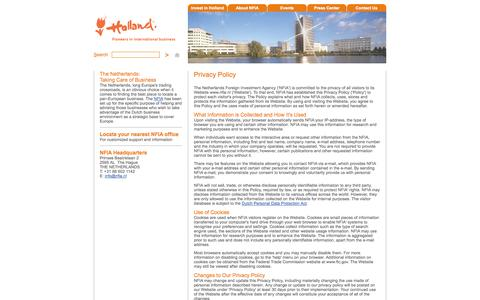 Screenshot of Privacy Page nfia.nl - Privacy Policy - Netherlands Foreign Investment Agency - captured Oct. 4, 2014