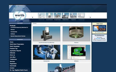 Screenshot of Products Page werthinc.com - Werth Inc. - Werth Inc. - captured Oct. 7, 2014