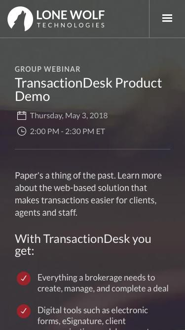 TransactionDesk Product Demo Registration | Lone Wolf Technologies