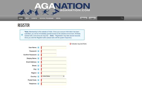 Screenshot of Signup Page aganation.com - AGA Nation - Action Sports Agency - captured Feb. 5, 2016