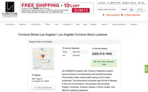 Screenshot of Locations Page lafurniturestore.com - LA Furniture Store locations in Los Angeles, New York & Vernon, CA - captured July 14, 2018