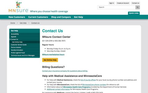 Screenshot of Contact Page mnsure.org - Contact Us / MNsure - captured July 26, 2018
