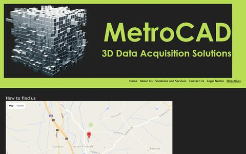 Screenshot of Maps & Directions Page metrocad.co.uk - MetroCAD 3D Laser Scanning Data Acquisition Solutions for and existing Plant, Machinery or Architechture - Directions - captured Nov. 28, 2016