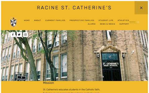 Screenshot of About Page saintcats.org - Mission and Values — Racine St. Catherine's - captured Oct. 24, 2017