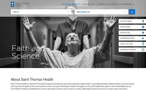 Screenshot of Home Page sthealth.com - Saint Thomas Health | Saint Thomas Health - captured July 2, 2016