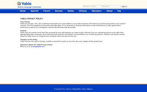 Screenshot of Privacy Page yabla.com - Yabla - Privacy Policy - captured Sept. 22, 2014