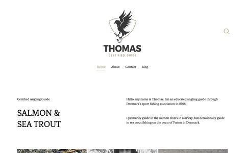 Screenshot of Home Page thomaspilegaard.com - Certified Angling Guide — Thomas Pilegaard - captured Nov. 25, 2016