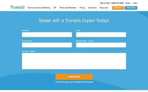 Screenshot of Contact Page trumpia.com - Contact Our SMS Marketing & Messaging Experts - Trumpia - captured Oct. 2, 2015