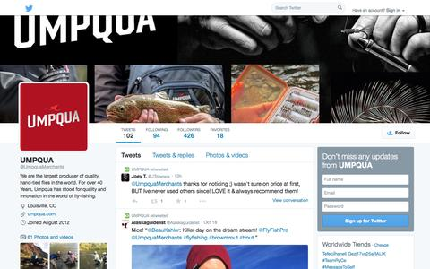 Screenshot of Twitter Page twitter.com - UMPQUA (@UmpquaMerchants) | Twitter - captured Oct. 23, 2014