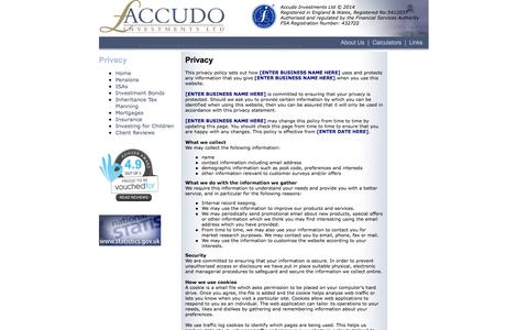 Screenshot of Privacy Page accudo.co.uk - Accudo Investments Ltd - captured Oct. 4, 2014