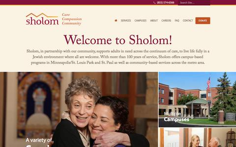 Screenshot of Home Page Menu Page sholom.com - Sholom - Senior housing and Assisted Living | Twin Cities, MN - captured July 27, 2018