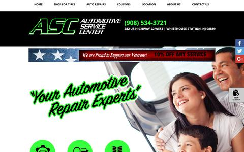 Screenshot of Home Page ascwhitehouse.com - Whitehouse Station NJ Auto Repair & Tires | Automotive Service Center - captured Nov. 6, 2018