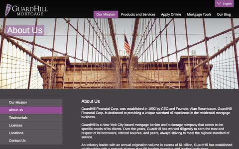 Screenshot of About Page guardhill.com - Guardhill Financial Corp | Manhattan Jumbo Mortgages | Financing | Loans | co-ops & condos - captured Nov. 2, 2014