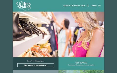 Screenshot of Home Page outletsatsparks.com captured Sept. 20, 2015