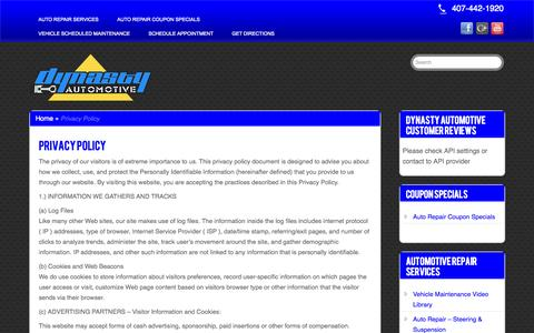 Screenshot of Privacy Page affordableautorepairorlando.com - Privacy Policy | Affordable Auto Repair In Orlando - captured Oct. 30, 2014