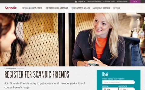 Screenshot of Signup Page scandichotels.com - Join Scandic Friends | Scandic Hotels - captured July 23, 2016