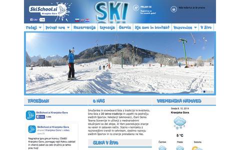Screenshot of Home Page skischool.si - Smučarska šola SkiSchool.si Kranjska Gora - captured Oct. 8, 2014