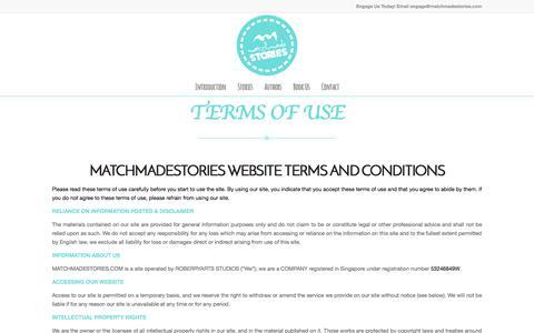 Screenshot of Terms Page matchmadestories.com - Terms Of Use - MatchMadeStories - captured June 10, 2017