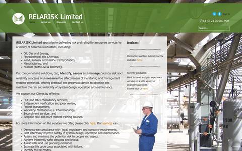 Screenshot of Home Page relarisk.com - RELARISK Limited - captured Oct. 9, 2014