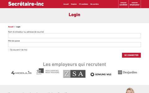 Screenshot of Login Page secretaire-inc.com - Login | Secrétaire-Inc - captured Sept. 30, 2017