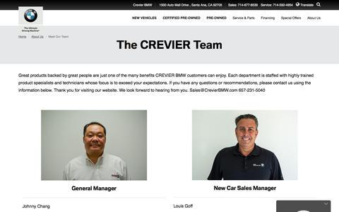 Screenshot of Team Page crevierbmw.com - Our Team - Orange County, Irvine & Santa Ana, CA | Crevier BMW - captured July 23, 2018