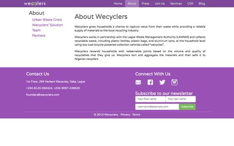Screenshot of About Page wecyclers.com - About Wecyclers - captured Feb. 27, 2016