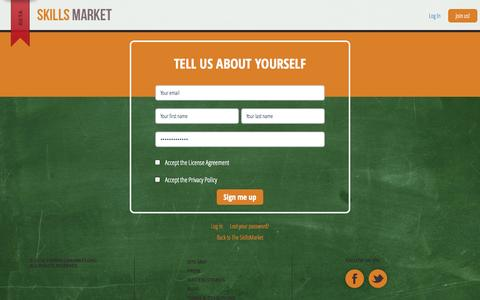 Screenshot of Signup Page theskillsmarket.org - Sign Up - The SkillsMarket - captured Oct. 9, 2014
