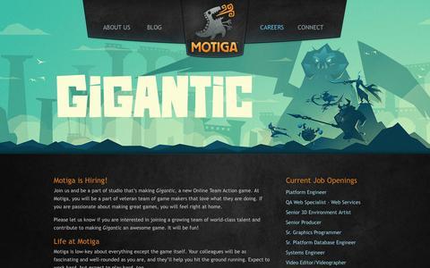 Screenshot of Jobs Page motiga.com - Motiga | Careers - captured Sept. 16, 2014