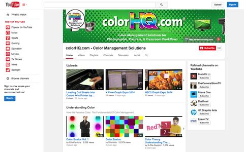 Screenshot of YouTube Page youtube.com - colorHQ.com - Color Management Solutions  - YouTube - captured Oct. 23, 2014