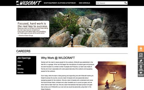 Screenshot of Jobs Page wildcraft.in - Career - captured Sept. 17, 2014