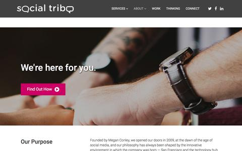 Screenshot of About Page social-tribe.com - About - Social Tribe - captured Sept. 21, 2018