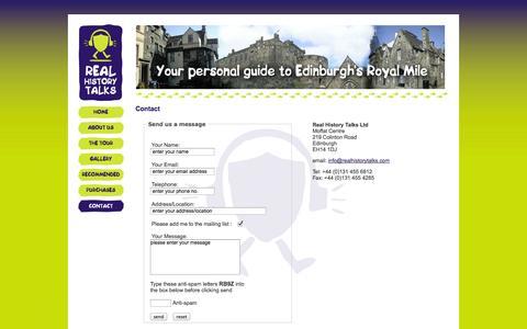 Screenshot of Contact Page realhistorytalks.com - Contact Real History Talks - RHT, Edinburgh, Scotland - captured Oct. 26, 2014