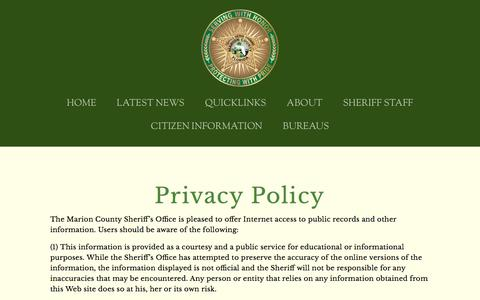 Screenshot of Privacy Page marionso.com - PRIVACY POLICY — Marion County Sheriff's Office - captured Aug. 30, 2016