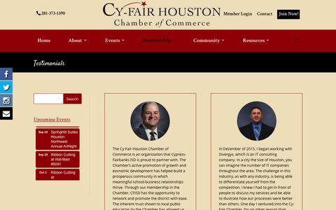 Screenshot of Testimonials Page cyfairchamber.com - Testimonials | Cy-Fair Houston | Chamber of Commerce - captured Sept. 19, 2017