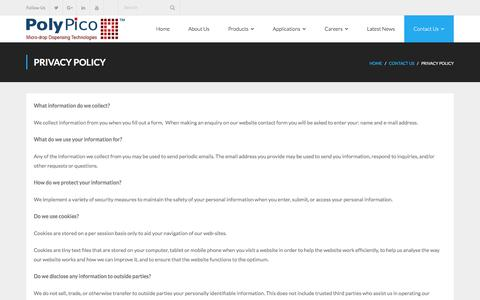 Screenshot of Privacy Page polypico.com - PolyPico Privacy Policy | Ultra Low Volume Dispensing  | PolyPico Technologies Ltd. - captured Sept. 25, 2018