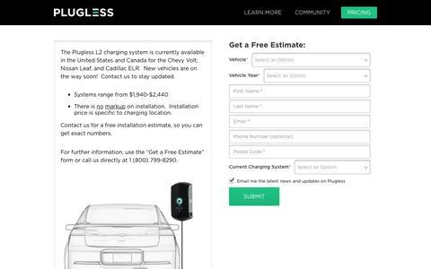 Screenshot of Pricing Page pluglesspower.com - Price Request - Plugless Power - captured Nov. 2, 2014