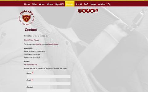Screenshot of Contact Page royalarts.org - Contact | Royal Arts Fencing Academy - captured Oct. 7, 2014