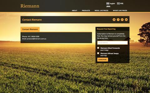 Screenshot of Contact Page riemann.com.au - Contact | - captured Oct. 9, 2014